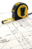 Measure tool  on a blueprint Royalty Free Stock Image