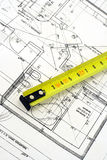 Measure tool on a blueprint Royalty Free Stock Photo