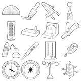 Measure tools icons set, outline style Stock Image