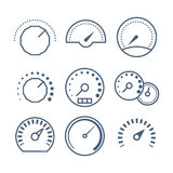 Measure tools, speedometer, and volume control vector collection Stock Photo