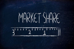 Measure your market share. Humour design of a ruler measuring market share Stock Photography