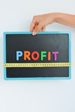 Measure your profit concept written as magnetic colored letter blocks with scale royalty free stock photos