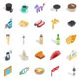 Measured life icons set, isometric style. Measured life icons set. Isometric set of 25 measured life vector icons for web isolated on white background Stock Photos