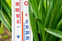 Measurement of air temperature in the street in spring or summer. The thermometer shows a temperature of plus 20 degrees_. Measurement of air temperature in the