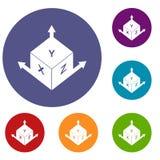 Measurement cube square icons set Stock Photo