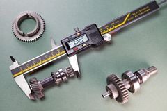 Measurement of the details by a digital caliper.  royalty free stock photo