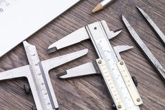 Measurement devices on table Royalty Free Stock Image