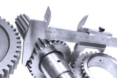 Measurement of diameter of a gear Royalty Free Stock Images