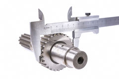 Measurement of diameter. Of gear part of a shaft, measuring device royalty free stock photo