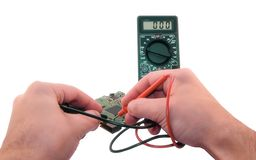 Measurement with an electronic multimeter stock photo