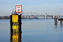 Measurement of the freeboard of a big bridge Royalty Free Stock Photography