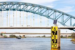 Measurement of the freeboard of a big bridge Stock Photography