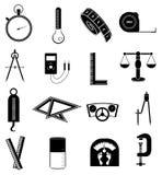 Measurement icons set. In black vector illustration