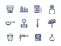 Measurement instruments glyph style icons Royalty Free Stock Photography