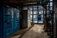 Measurement laboratory interior with big machines Stock Images