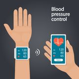 Measurement and monitoring of blood pressure with modern gadgets and mobile applications. Man checking arterial blood pressure wit Stock Photos
