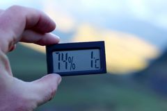 Measurement of the morning temperature and humidity in the highl Stock Image