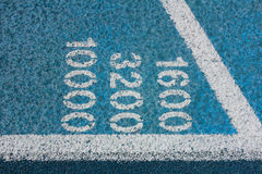 Measurement Numbers on a Running Track Royalty Free Stock Photo