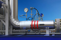 Measurement of parameters of gas in the pipe Stock Photo