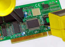 Measurement on a printed circuit board Royalty Free Stock Photos