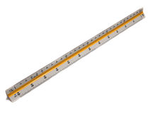 Measurement Scale Ruler for the Architect. A measuring scale ruler isolated on white Background for Architect Stock Photos