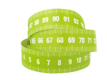 Measurement tape. A close up of a measurement tape on a white background stock image