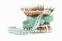 Free Measurement Tape And Orange Pills Stock Photography - 17126862
