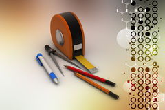 Measurement tape with pencils Royalty Free Stock Photography