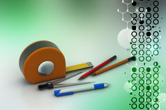 Measurement tape with pencils Royalty Free Stock Image