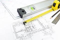 Measurement tools on blueprint Royalty Free Stock Photos