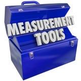Measurement Tools Gauge Performance Level 3d Words Toolbox. Measurement Tools words in 3d letters in a blue metal toolbox to gauge your performance level Stock Photos