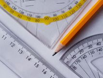 Measurement tools and a pencil royalty free stock photos