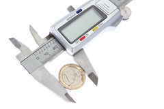 Measurement Vernier coins euros. Royalty Free Stock Image