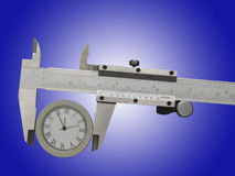 Measurement of watches with a caliper Stock Photo