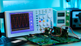 Measurement of a waveform. With an oscilloscope stock image
