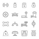 Measurement, weight scales, libra, balance thin line vector icons. Set of linear scales for food, illustration of weight and scale stock illustration