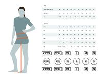 Size chart for women. Measurements for clothing. Vector illustration of the dimensions of the female waist and hips. Size chart for women. Model template with stock illustration