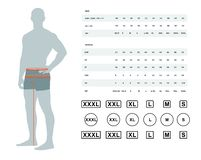 Size chart for men. Measurements for clothing. Vector illustration of the dimensions of the male waist and hips. Size chart for men. Model template with royalty free illustration