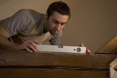 Measurements using spirit level. Stock Photography