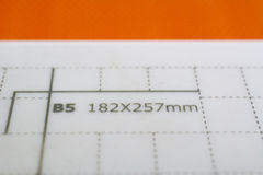 Measures for paper size B5 Royalty Free Stock Image