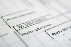 Measures for paper size A6 Royalty Free Stock Photography