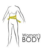 Measures in perfect female body Royalty Free Stock Photos