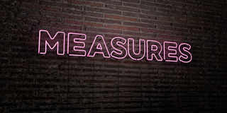MEASURES -Realistic Neon Sign on Brick Wall background - 3D rendered royalty free stock image Royalty Free Stock Photos