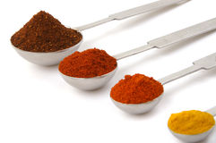 Measures of spices. Measures of colorful spices on white background with shadow Royalty Free Stock Photography