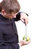 Measuring the apple Stock Image