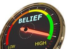 Measuring belief level. Speedometer Measuring belief level on high green , 3d rendered on white background stock illustration