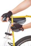 Measuring bike saddle Royalty Free Stock Image