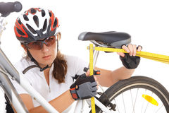 Measuring bike saddle Royalty Free Stock Photography