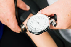 Measuring blood pressure. Doctor measuring blood pressure, close-up royalty free stock photos