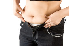 Measuring body fat stock photo